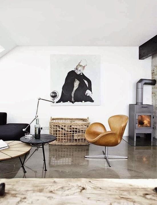 Fabulish-an-artist's-home-fireplace-swan-chair